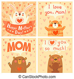 Greeting card for mom with cute animals Vector illustration...