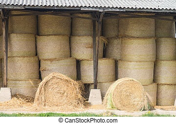 Straw Bales - Straw bales in a warehouse