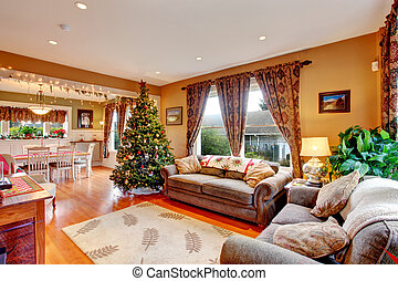 Living room on Christmas eve - Cozy house interior on...