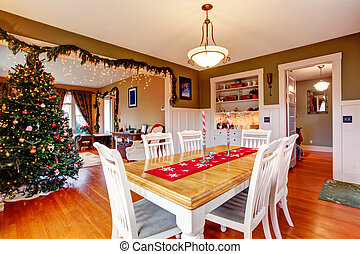 House interior on Christmas eve - Beatifully decorated...