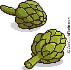 Artichoke - Vector illustration of artichokes isolated on a...
