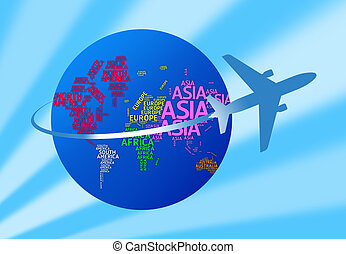 Airplane & continents with isolated - Airplane circling the...