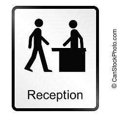 Reception Information Sign - Monochrome reception public...