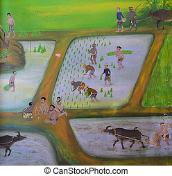 Thai mural painting of traditional method for rice...