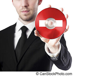 man holding cd stop