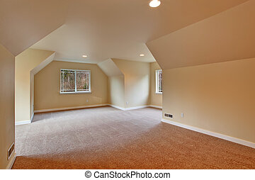 Empty room with vaulted ceiling, carpet floor and windows