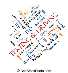 Texting and Driving Word Cloud Concept Angled - Texting and...
