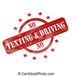 Red Weathered No Texting and Driving Stamp design