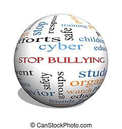 Stop Bullying 3D sphere Word Cloud Concept with great terms...