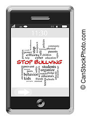 Stop Bullying Word Cloud Concept on a Touchscreen Phone with...