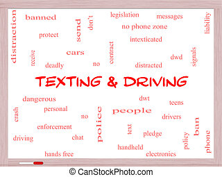 Texting and Driving Word Cloud Concept on a Whiteboard with...