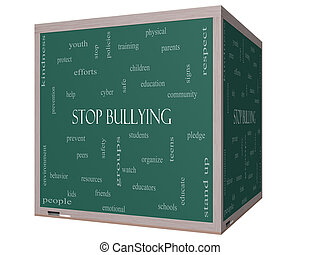 Stop Bullying Word Cloud Concept on a 3D cube Blackboard...