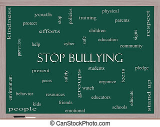 Stop Bullying Word Cloud Concept on a Blackboard with great...