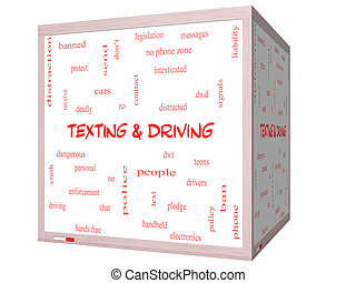 Texting and Driving Word Cloud Concept on a 3D Whiteboard