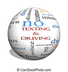 Texting and Driving 3D sphere Word Cloud Concept with great...
