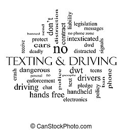 Texting and Driving Word Cloud Concept in black and white...