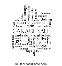 Garage Sale Word Cloud Concept in black and white with great...