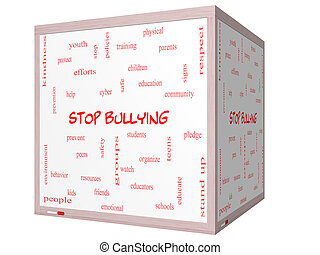 Stop Bullying Word Cloud Concept on a 3D cube Whiteboard...