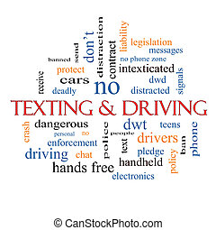 Texting and Driving Word Cloud Concept with great terms such...