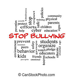 Stop Bullying Word Cloud Concept in red caps with great...