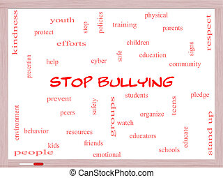 Stop Bullying Word Cloud Concept on a Whiteboard with great...