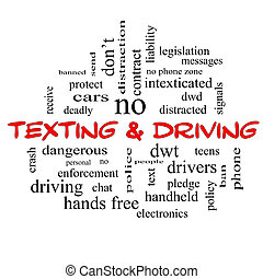 Texting and Driving Word Cloud Concept in red caps with...