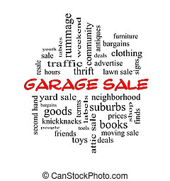 Garage Sale Word Cloud Concept in red caps with great terms...
