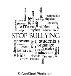 Stop Bullying Word Cloud Concept in black and white with...