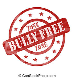 Red Weathered Bully Free Zone Stamp Circles and Stars - A...