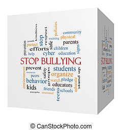 Stop Bullying 3D cube Word Cloud Concept with great terms...