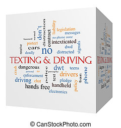 Texting and Driving 3D cube Word Cloud Concept with great...