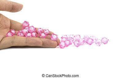 粉紅色, 小珠, 手