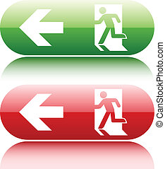 Gree and red glossy emergency exit sign