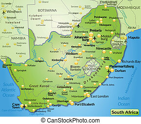 Map of south africa as an overview map in green