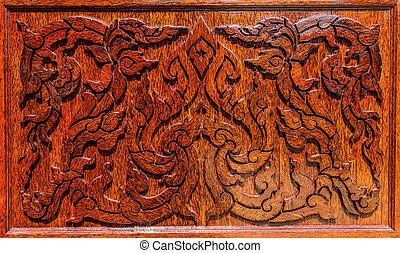 The Carving wood frame of Thai art.