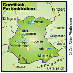 Map of Garmisch-Partenkirchen as an overview map in green