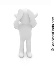 3d personage with hands on face on white background. Series:...