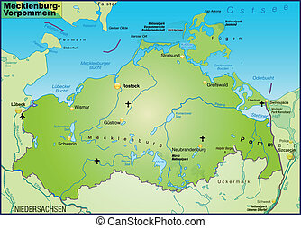 Map of Mecklenburg-Western Pomerania as an overview map in...