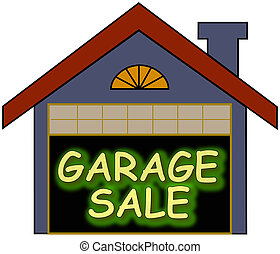 Garage Sale glow - Big glowing garage sale sign inside the...