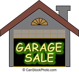 Garage Sale glow opt - Big glowing garage sale sign inside...