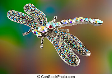 Dragonfly - Jewellery with colored stones in the shape of a...