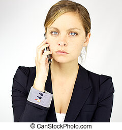 Angry business woman on the phone - Portrait of gorgeous...