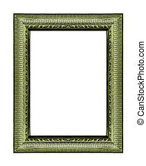 Vintage green frame with blank space, with clipping path,...