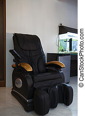 massage chair - black leather massage chair