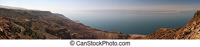 Dead sea coast on Jordan site - Israel in the distance (made...
