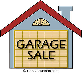 Garage Sale vector - Big garage sale sign on the garage door