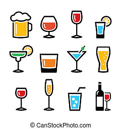 Drink colorful alcohol beverage ico - Beverages different...