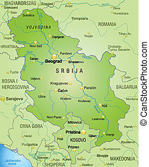 Map of Serbia as an overview map in green