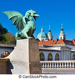 Dragon bridge, Ljubljana, Slovenia, Europe. - Famous Dragon...