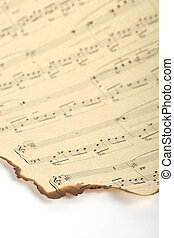 Part old of music sheet - Part of old burnt music sheet on...